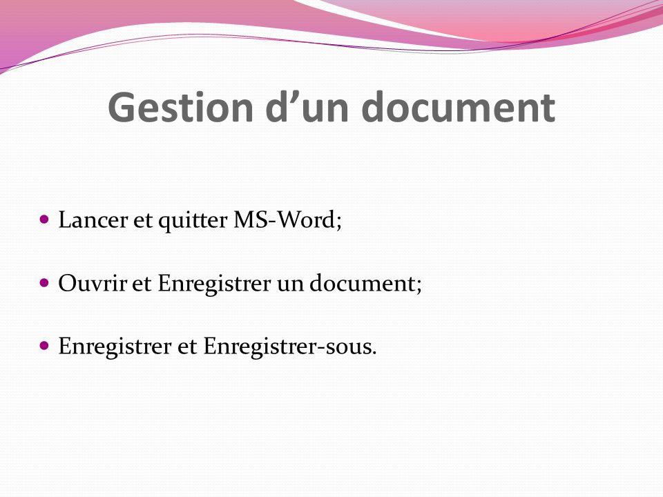 Gestion dun document Lancer et quitter MS-Word; Ouvrir et Enregistrer un document; Enregistrer et Enregistrer-sous.