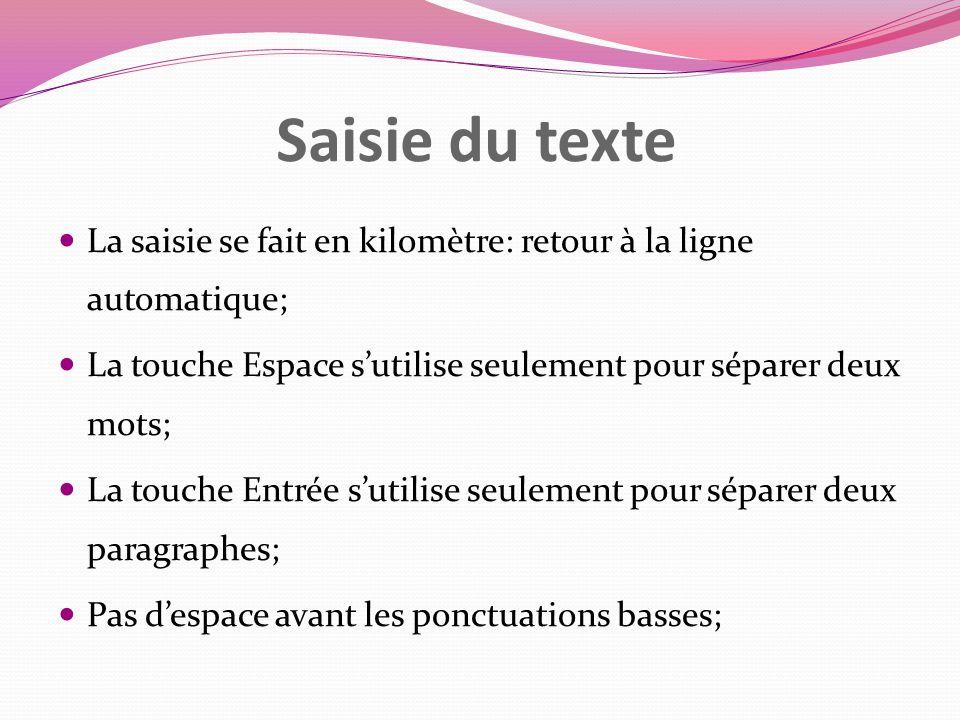 Saisie du texte La saisie se fait en kilomètre: retour à la ligne automatique; La touche Espace sutilise seulement pour séparer deux mots; La touche E