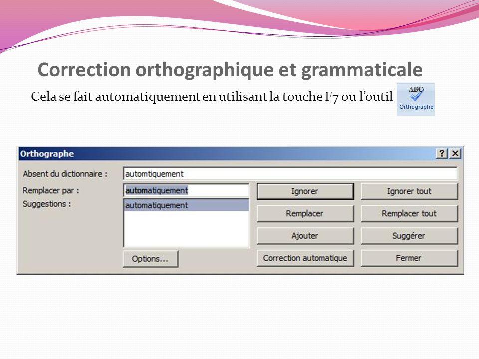 Correction orthographique et grammaticale Cela se fait automatiquement en utilisant la touche F7 ou loutil
