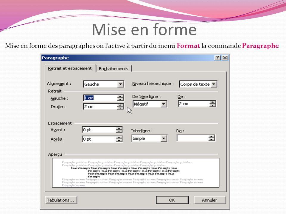 Mise en forme Mise en forme des paragraphes on lactive à partir du menu Format la commande Paragraphe