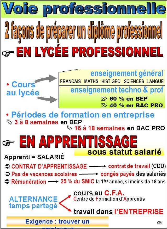 enseignement général enseignement techno & prof 60 % en BEP 40 % en BAC PRO Cours au lycée Périodes de formation en entreprise 3 à 8 semaines en BEP 1