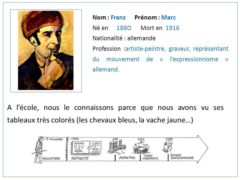 Nom : Franz Prénom : Marc Né en 188OMort en 1916 Nationalité : allemande Profession :artiste-peintre, graveur, représentant du mouvement de « lexpress
