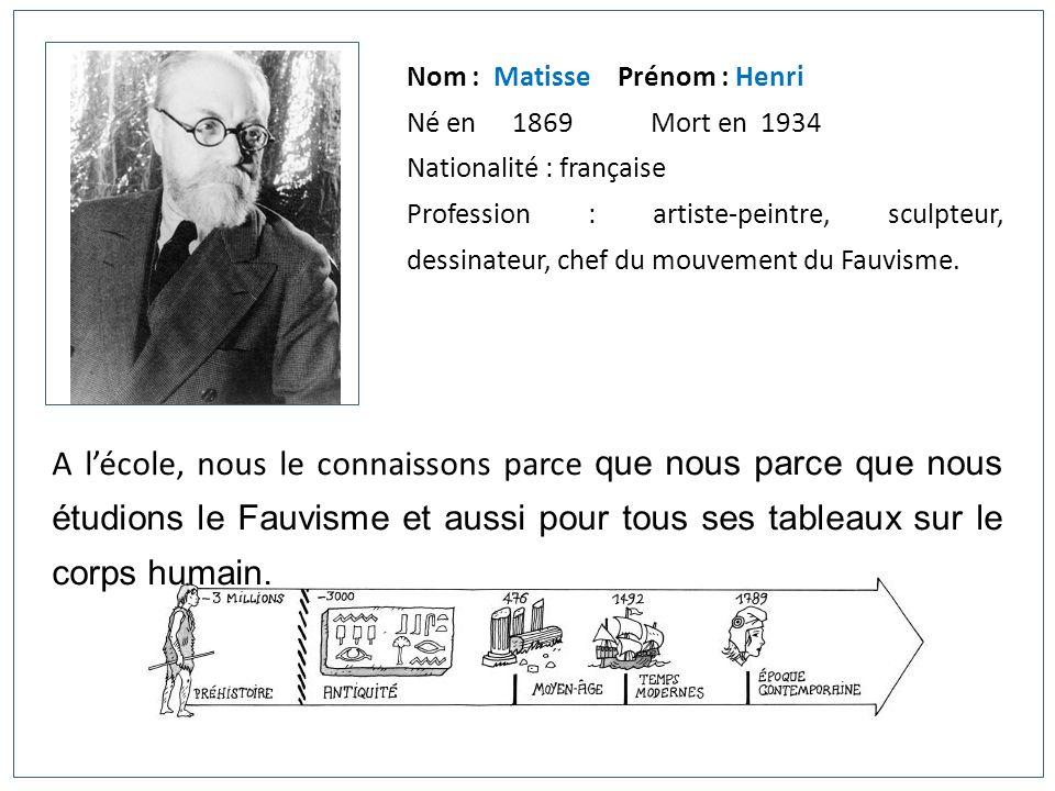 Nom : MatissePrénom : Henri Né en 1869 Mort en 1934 Nationalité : française Profession : artiste-peintre, sculpteur, dessinateur, chef du mouvement du