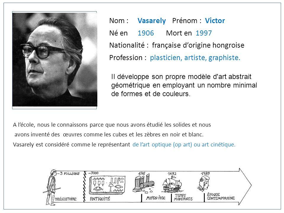 Nom : Vasarely Prénom : Victor Né en 1906Mort en 1997 Nationalité : française dorigine hongroise Profession : plasticien, artiste, graphiste. II dével