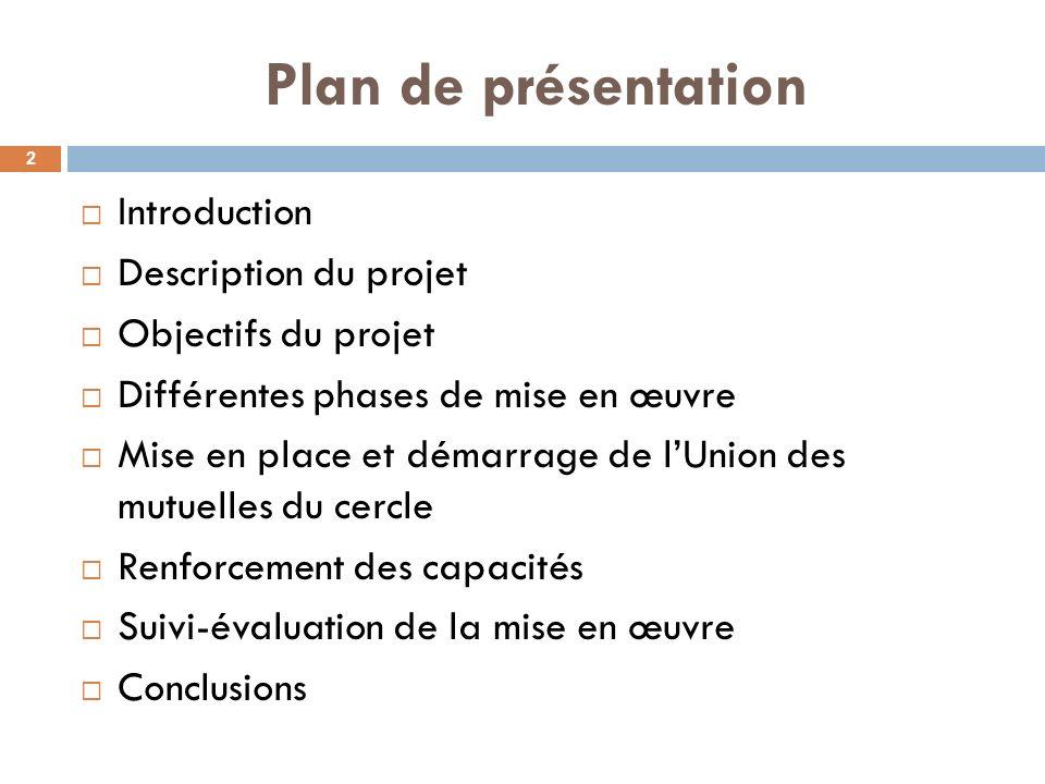 Plan de présentation Introduction Description du projet Objectifs du projet Différentes phases de mise en œuvre Mise en place et démarrage de lUnion d