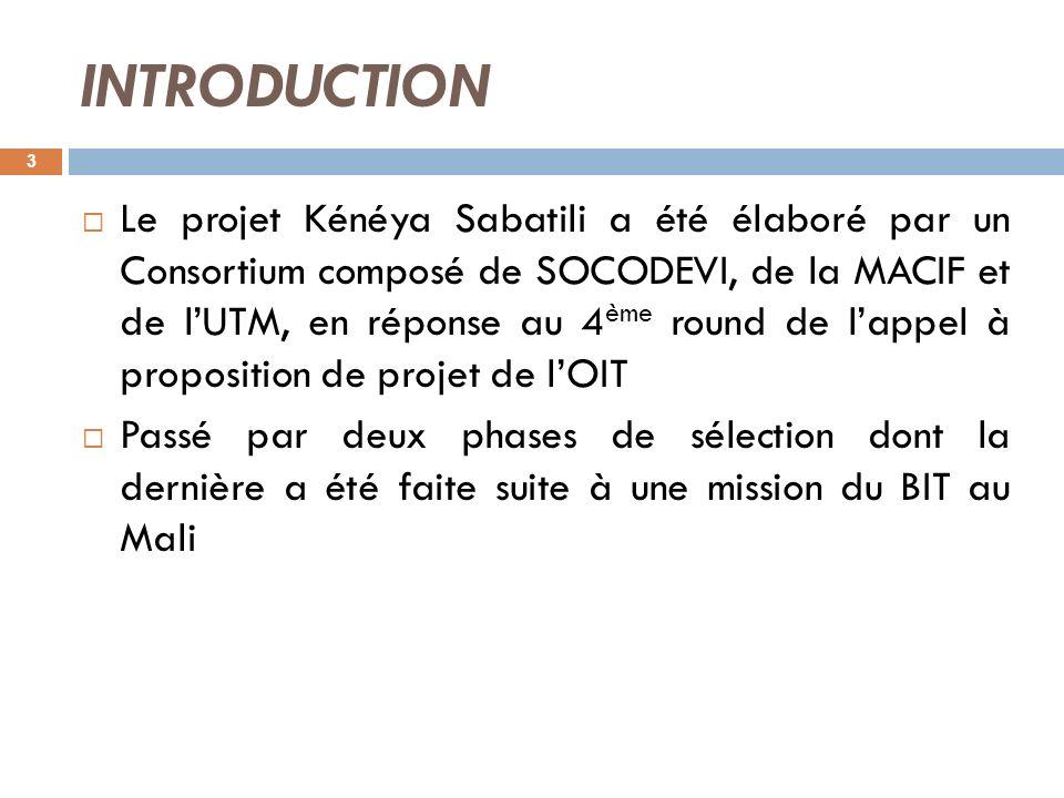 INTRODUCTION Le projet Kénéya Sabatili a été élaboré par un Consortium composé de SOCODEVI, de la MACIF et de lUTM, en réponse au 4 ème round de lappe