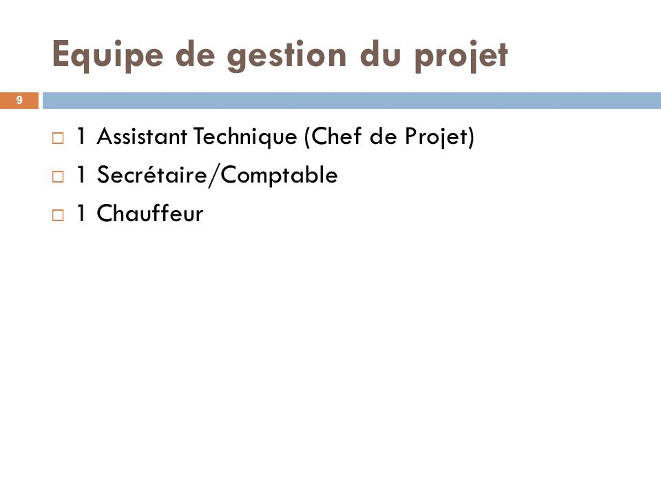 Equipe de gestion du projet 1 Assistant Technique (Chef de Projet) 1 Secrétaire/Comptable 1 Chauffeur 9