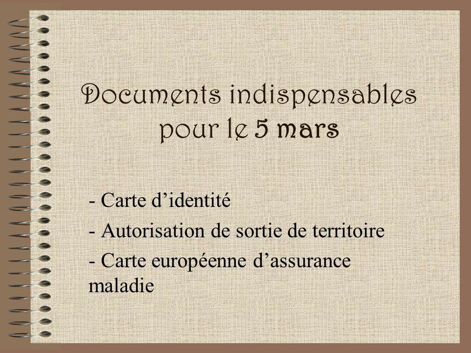 Documents indispensables pour le 5 mars - Carte didentité - Autorisation de sortie de territoire - Carte européenne dassurance maladie
