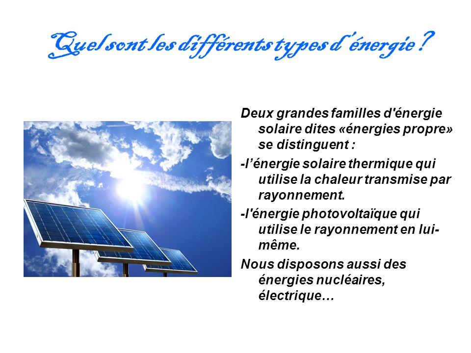 Quel sont les différents types dénergie? Deux grandes familles d'énergie solaire dites «énergies propre» se distinguent : -lénergie solaire thermique