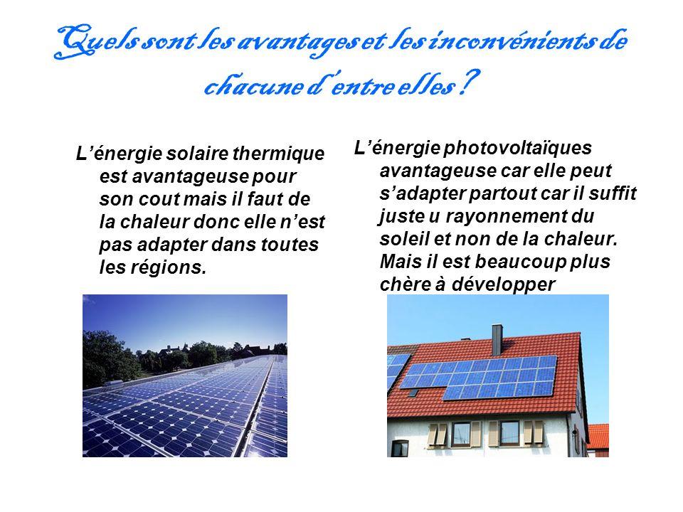 Quels sont les avantages et les inconvénients de chacune dentre elles? Lénergie solaire thermique est avantageuse pour son cout mais il faut de la cha
