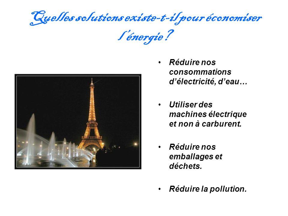 Quelles solutions existe-t-il pour économiser lénergie? Réduire nos consommations délectricité, deau… Utiliser des machines électrique et non à carbur