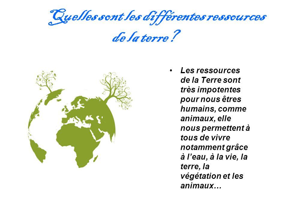 Quelles sont les différentes ressources de la terre? Les ressources de la Terre sont très impotentes pour nous êtres humains, comme animaux, elle nous