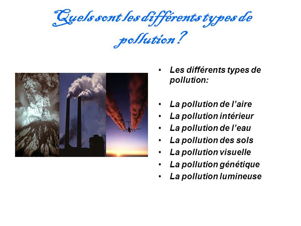 Quels sont les différents types de pollution? Les différents types de pollution: La pollution de laire La pollution intérieur La pollution de leau La
