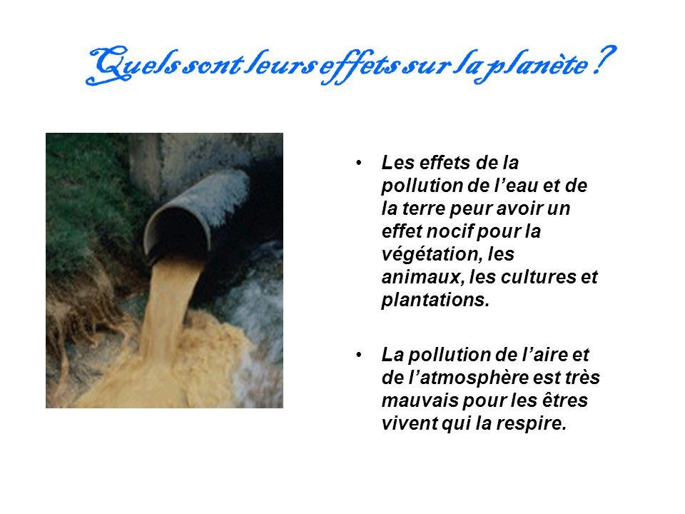 Quels sont leurs effets sur la planète? Les effets de la pollution de leau et de la terre peur avoir un effet nocif pour la végétation, les animaux, l