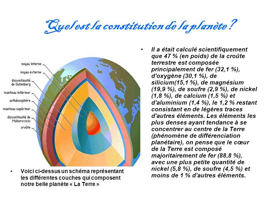 Quel est la constitution de la planète? Il a était calculé scientifiquement que 47 % (en poids) de la croûte terrestre est composée principalement de