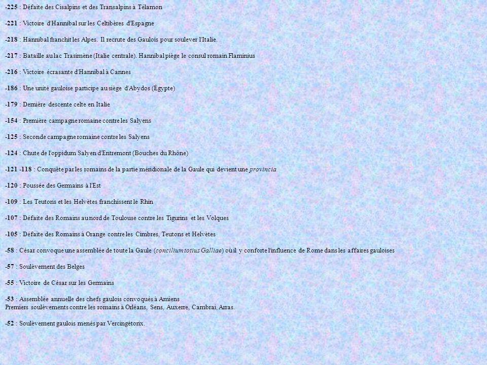 Janvier: Les Carnutes donnent le signal de l insurrection à Orléans Février: Vercingétorix devient maître de toute la gaule centrale Juin: Victoire à Gergovie Août: Vercingétorix s enferme dans Alésia Septembre: Défaite à Alésia après un siège terrible La Gaule romaine -51 : Pacification et romanisation de la Gaule -46 : Vercingétorix est étranglé dans un cachot de Rome 15 mars -44 : Assassinat de Jules César à Rome -43 : Fondation de Lyon (Lugdunum) sur la colline de la Fourvière -22 : La Narbonnaise devient province sénatoriale -13 : La Gaule chevelue est divisée en trois régions (Aquitaine, Lyonnaise et Belgique) Les Francs envahisse la Gaulle romaine