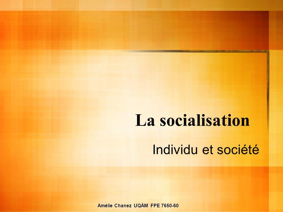 Amélie Chanez UQÀM FPE 7650-60 La socialisation Individu et société