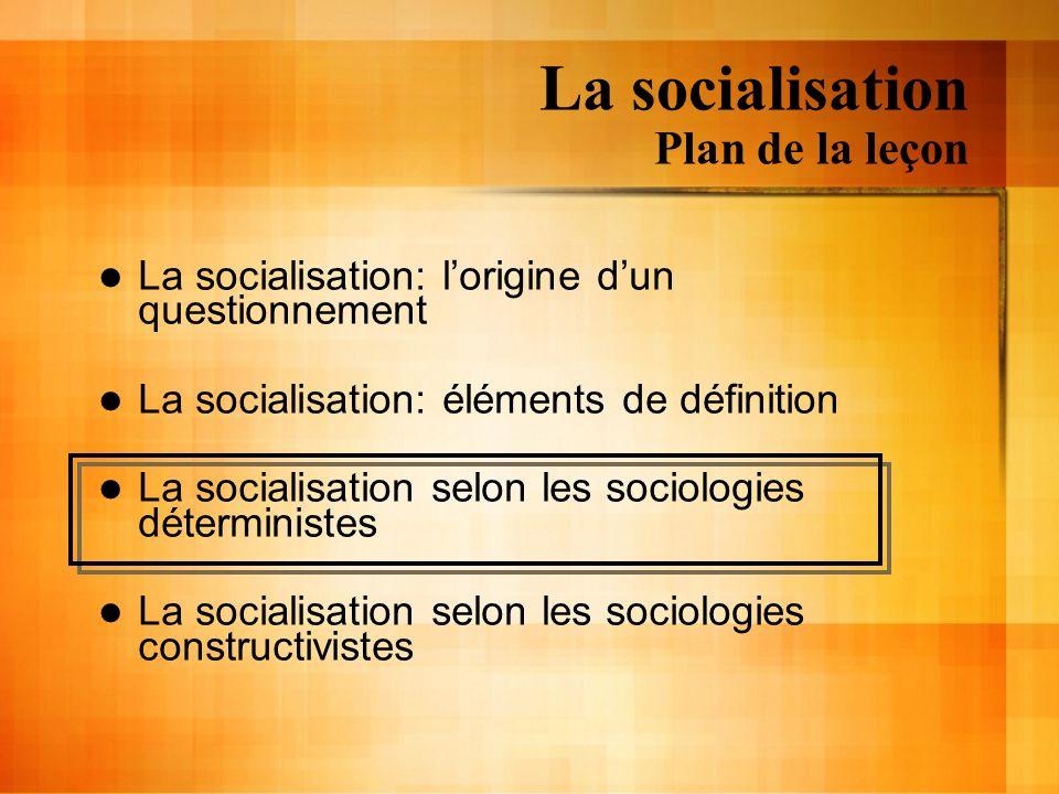 La socialisation Plan de la leçon La socialisation: lorigine dun questionnement La socialisation: éléments de définition La socialisation selon les so
