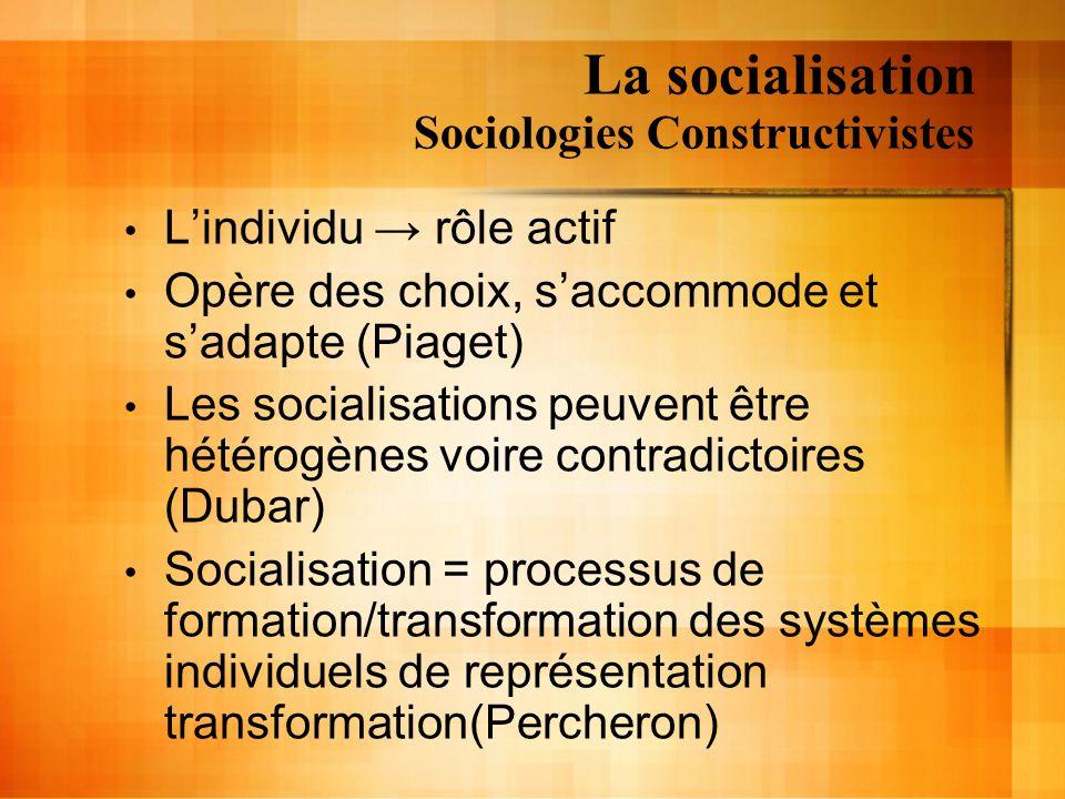 La socialisation Sociologies Constructivistes Lindividu rôle actif Opère des choix, saccommode et sadapte (Piaget) Les socialisations peuvent être hét