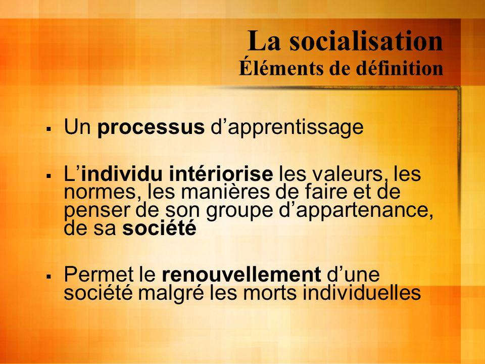 La socialisation Éléments de définition Un processus dapprentissage Lindividu intériorise les valeurs, les normes, les manières de faire et de penser