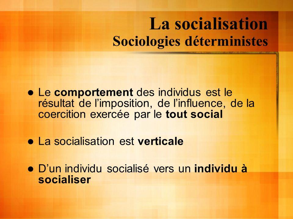 La socialisation Sociologies déterministes Émile Durkheim (1858-1917) État École Individu ConformeDéviant Principal Agent de socialisation Principal Agent de socialisation