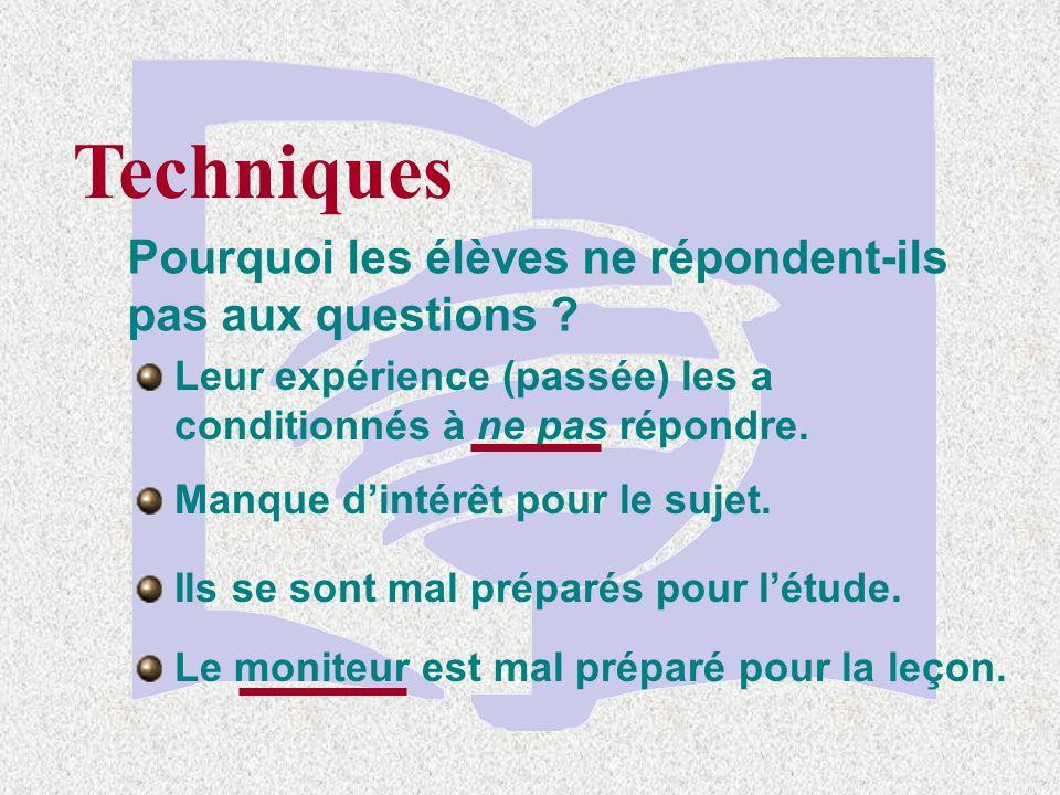 Techniques Utilisez des questions qui font avancer la classe vers lobjectif dapprentissage Objectif : Lélève comparera la réalité et la conséquence du péché A.