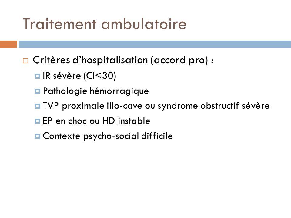 Traitement ambulatoire Critères dhospitalisation (accord pro) : IR sévère (Cl<30) Pathologie hémorragique TVP proximale ilio-cave ou syndrome obstruct