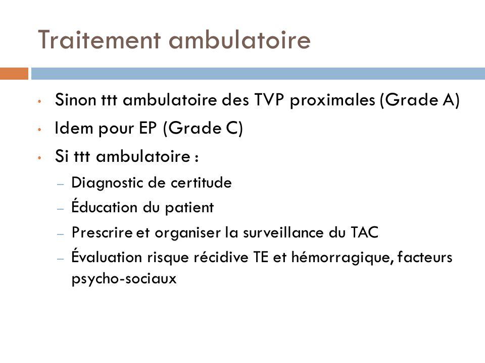 Traitement ambulatoire Sinon ttt ambulatoire des TVP proximales (Grade A) Idem pour EP (Grade C) Si ttt ambulatoire : – Diagnostic de certitude – Éduc