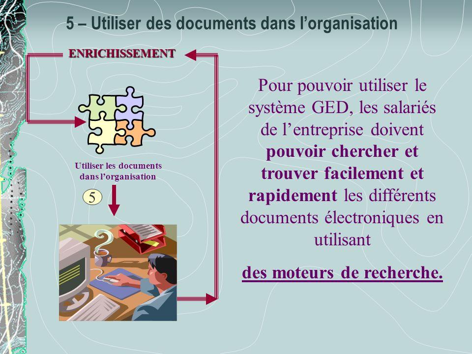 5 – Utiliser des documents dans lorganisation Utiliser les documents dans lorganisation 5 ENRICHISSEMENT Pour pouvoir utiliser le système GED, les sal