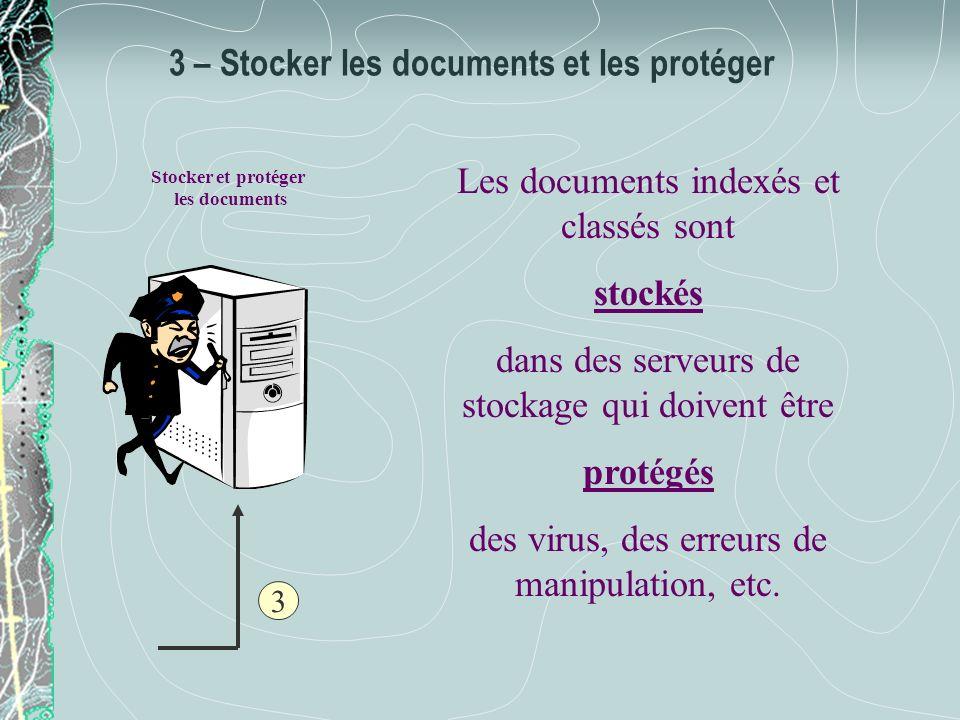 3 – Stocker les documents et les protéger Les documents indexés et classés sont stockés dans des serveurs de stockage qui doivent être protégés des vi