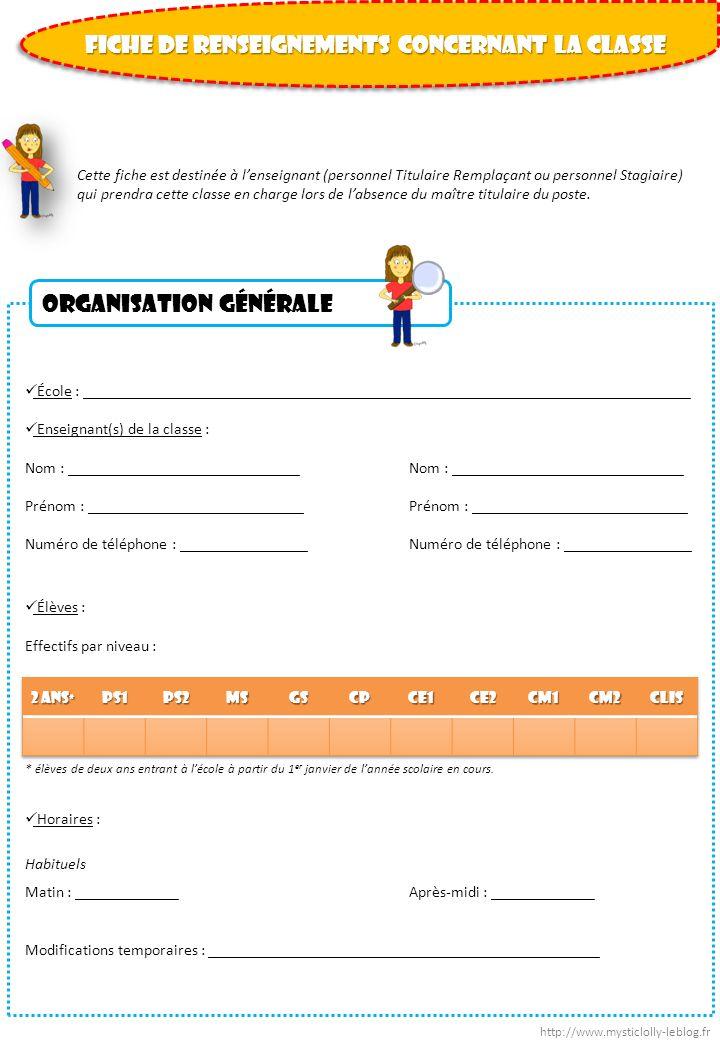 Points importants Projets dAccueil Individualisés (PAI) renseignés pour certains élèves de la classe : Nom et prénom de lélève : ____________________________________________ Précaution(s) particulière(s) : ____________________________________________________________ ____________________________________________________________________________________ Nom et prénom de lélève : ____________________________________________ Précaution(s) particulière(s) : ____________________________________________________________ ____________________________________________________________________________________ Dispositions particulières à lencontre des familles : (par ex : gardes parentales alternées, désignation dune assistante maternelle,….) ____________________________________________________________________________________ Modalités de sortie des élèves : (éviter de demander à lenseignant remplaçant dassurer seul la surveillance des sorties délèves, sauf pour les classes uniques) ____________________________________________________________________________________ Personnes habilitées à intervenir sur le temps scolaire : ATSEM Nom : ________________________________________ Prénom : ______________________________________ Horaires : _____________________________________ http://www.mysticlolly-leblog.fr