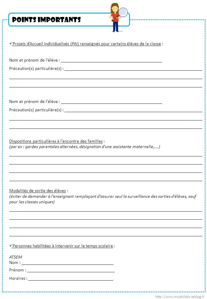 Points importants Projets dAccueil Individualisés (PAI) renseignés pour certains élèves de la classe : Nom et prénom de lélève : _____________________