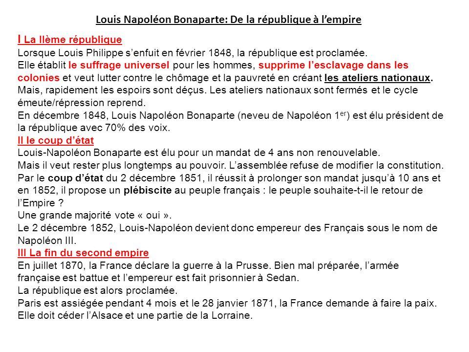 Louis Napoléon Bonaparte: De la république à lempire I La IIème république Lorsque Louis Philippe senfuit en février 1848, la république est proclamée