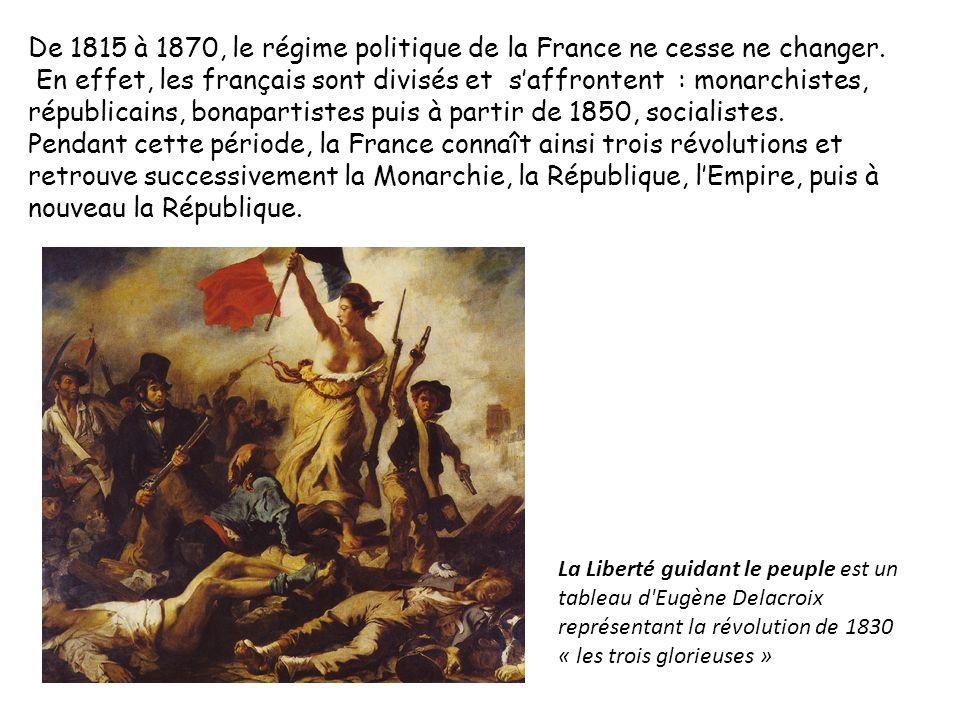 De 1815 à 1870, le régime politique de la France ne cesse ne changer. En effet, les français sont divisés et saffrontent : monarchistes, républicains,
