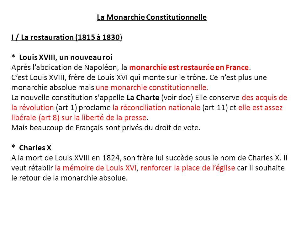 La Monarchie Constitutionnelle I / La restauration (1815 à 1830) * Louis XVIII, un nouveau roi Après labdication de Napoléon, la monarchie est restaur