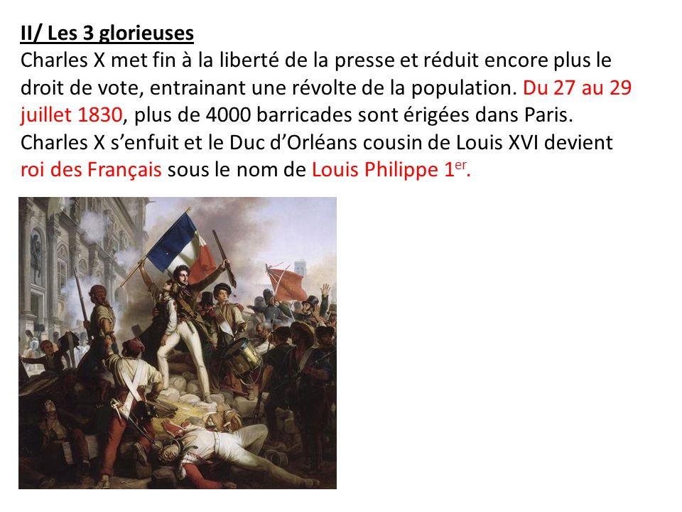II/ Les 3 glorieuses Charles X met fin à la liberté de la presse et réduit encore plus le droit de vote, entrainant une révolte de la population. Du 2