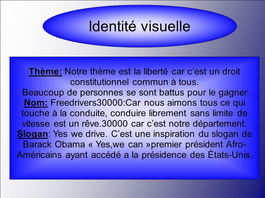 Identité visuelle Thème: Notre thème est la liberté car cest un droit constitutionnel commun à tous. Beaucoup de personnes se sont battus pour le gagn