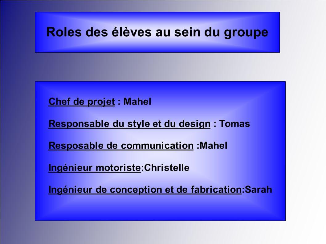 Roles des élèves au sein du groupe Chef de projet : Mahel Responsable du style et du design : Tomas Resposable de communication :Mahel Ingénieur motor