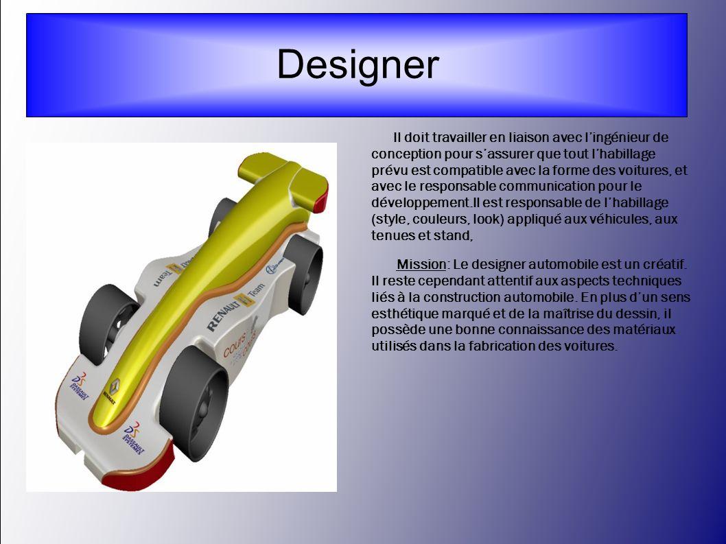 Cette personne est responsable du développement (modélisation 3D sur Catia V5) et de la fabrication de la monoplace..