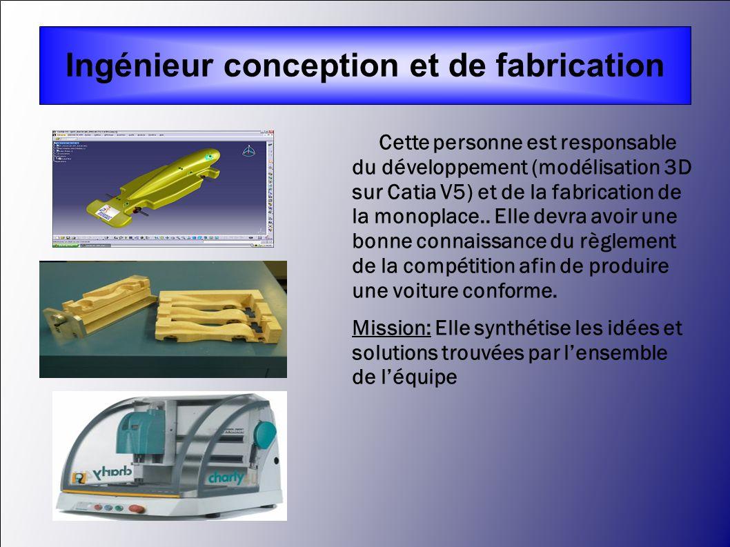 Cette personne est responsable du développement (modélisation 3D sur Catia V5) et de la fabrication de la monoplace.. Elle devra avoir une bonne conna