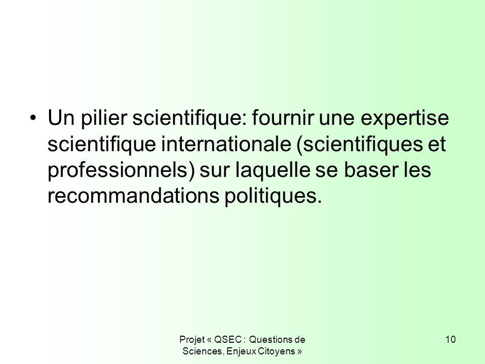 Projet « QSEC : Questions de Sciences, Enjeux Citoyens » 10 Un pilier scientifique: fournir une expertise scientifique internationale (scientifiques e