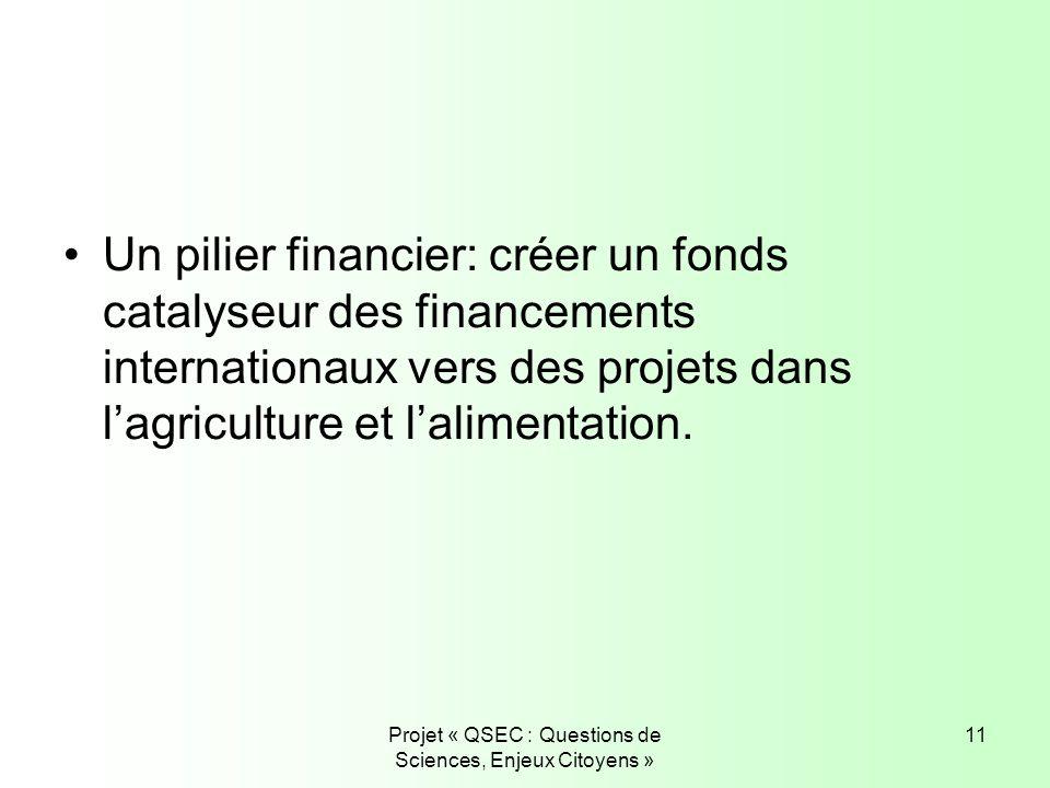 Projet « QSEC : Questions de Sciences, Enjeux Citoyens » 11 Un pilier financier: créer un fonds catalyseur des financements internationaux vers des pr