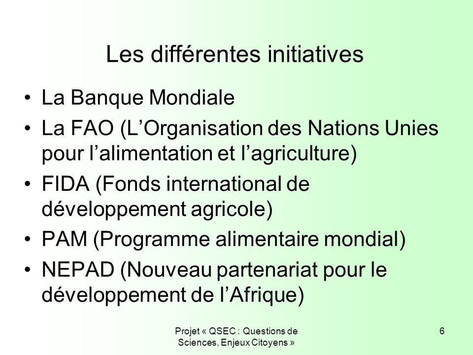 Projet « QSEC : Questions de Sciences, Enjeux Citoyens » 6 Les différentes initiatives La Banque Mondiale La FAO (LOrganisation des Nations Unies pour