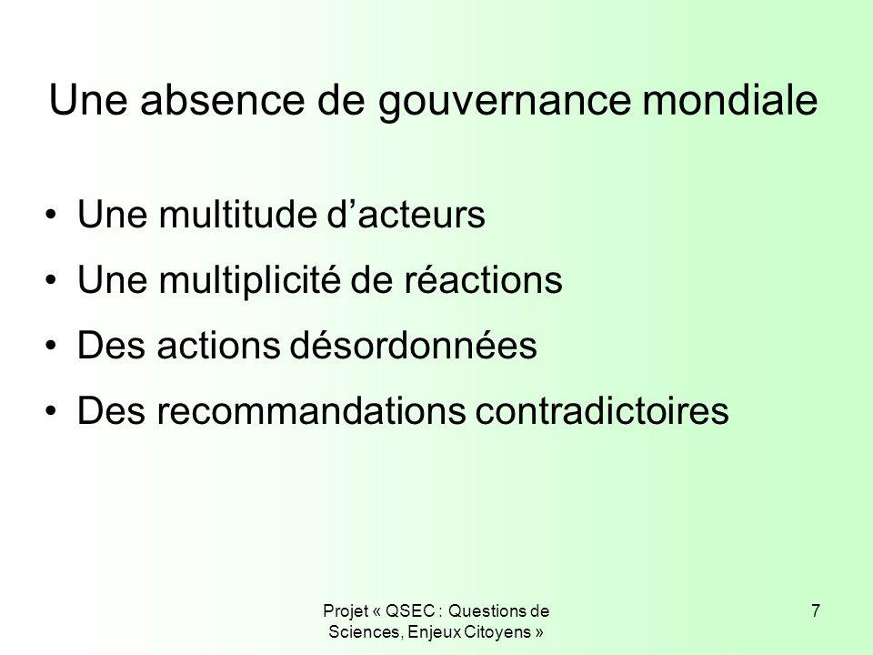 Projet « QSEC : Questions de Sciences, Enjeux Citoyens » 7 Une absence de gouvernance mondiale Une multitude dacteurs Une multiplicité de réactions De