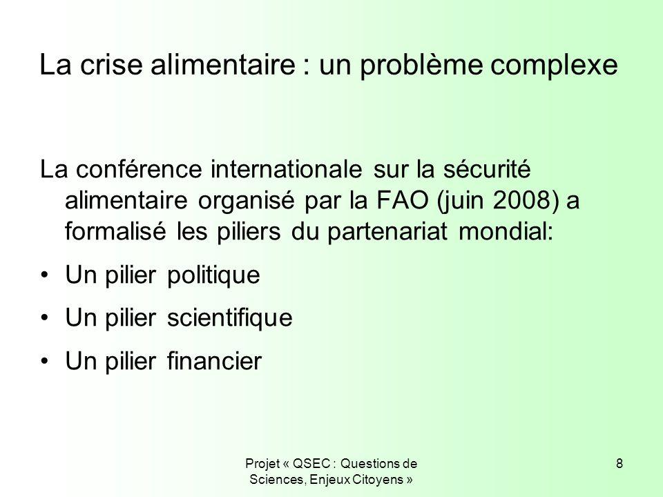 Projet « QSEC : Questions de Sciences, Enjeux Citoyens » 8 La crise alimentaire : un problème complexe La conférence internationale sur la sécurité al