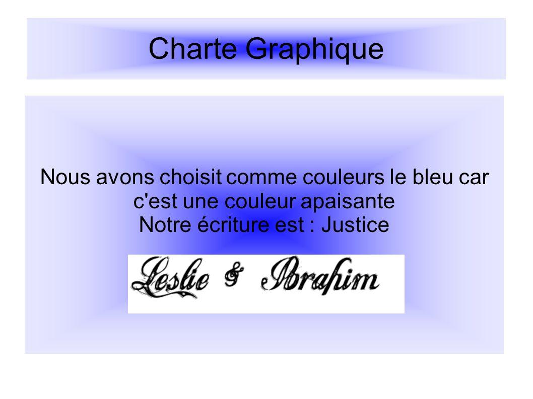 Charte Graphique Nous avons choisit comme couleurs le bleu car c'est une couleur apaisante Notre écriture est : Justice