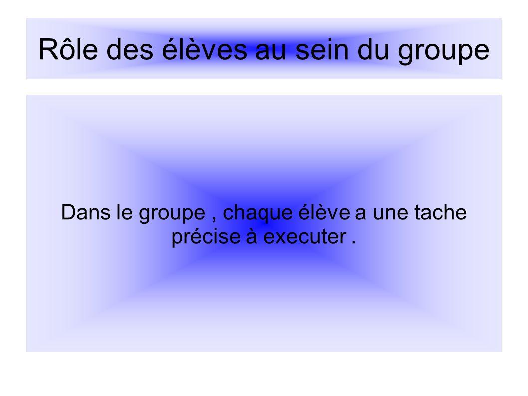 Rôle des élèves au sein du groupe Dans le groupe, chaque élève a une tache précise à executer.