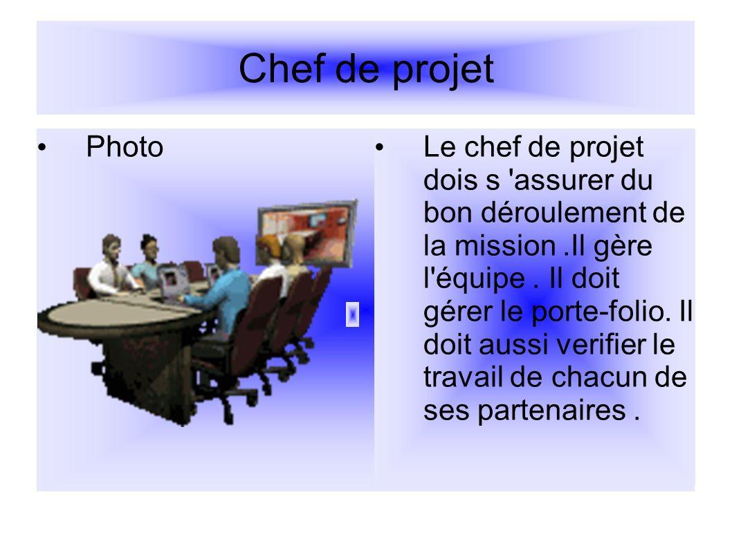 Chef de projet Photo Le chef de projet dois s 'assurer du bon déroulement de la mission.Il gère l'équipe. Il doit gérer le porte-folio. Il doit aussi