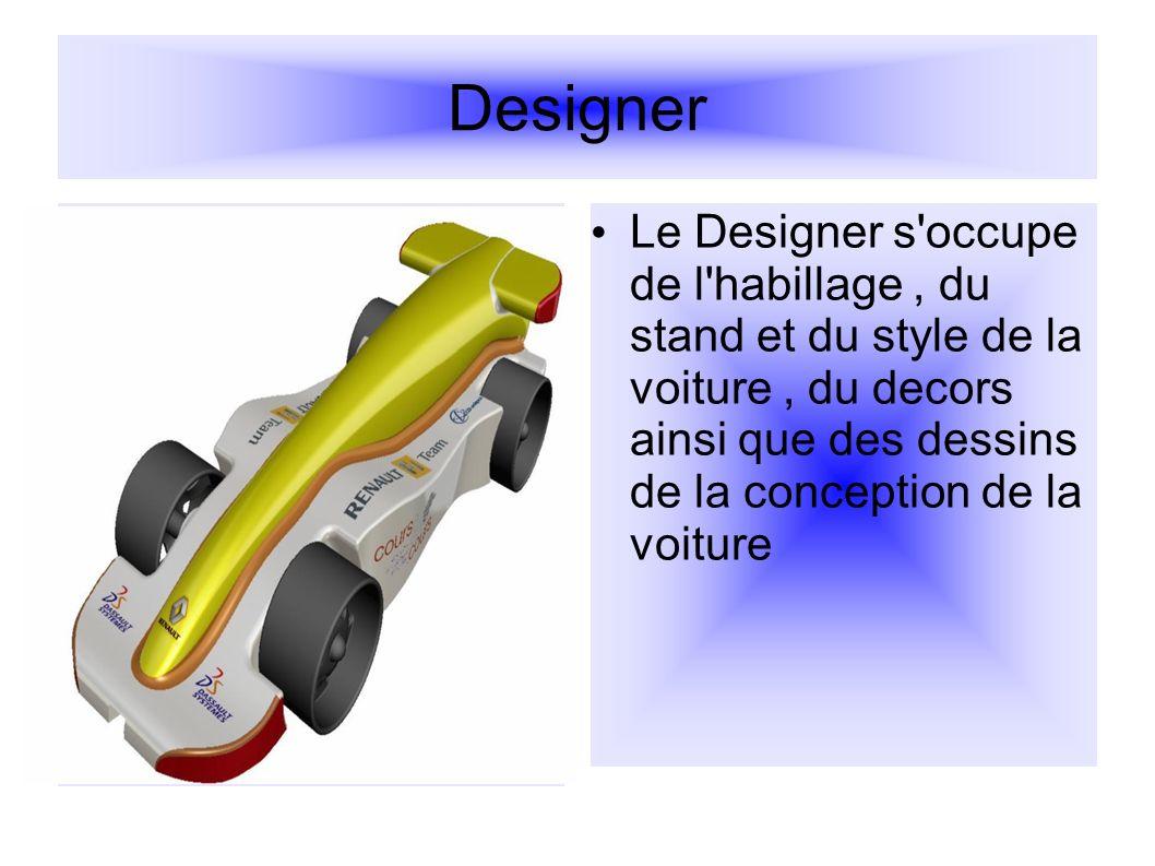 Designer Le Designer s'occupe de l'habillage, du stand et du style de la voiture, du decors ainsi que des dessins de la conception de la voiture