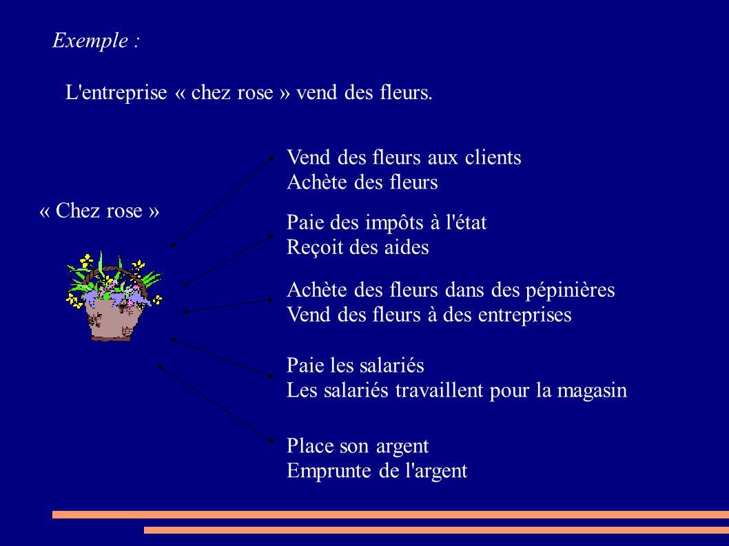 Exemple : L'entreprise « chez rose » vend des fleurs. Vend des fleurs aux clients Achète des fleurs Paie des impôts à l'état Reçoit des aides Achète d